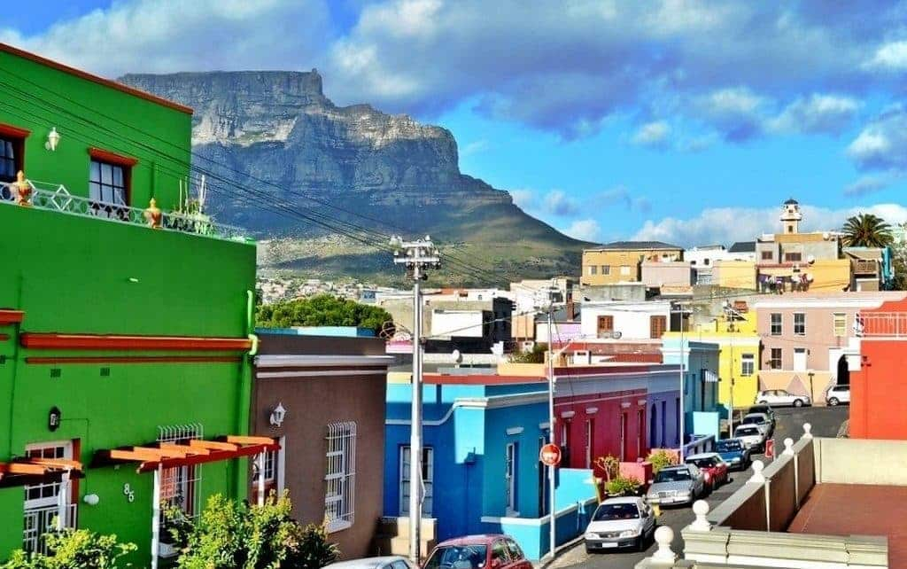 Bo Kaap and Table Mountain