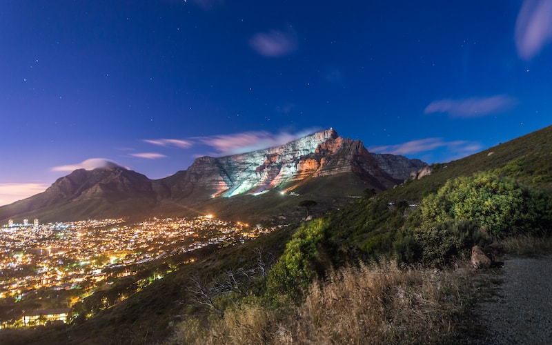Night lights shining on Table Mountain