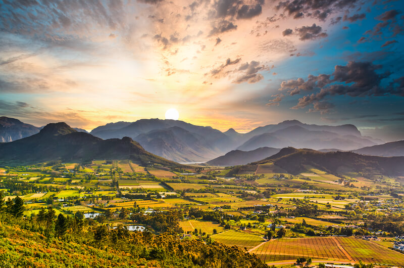 Sunrise over the Franschhoek Valley in the Cape Winelands